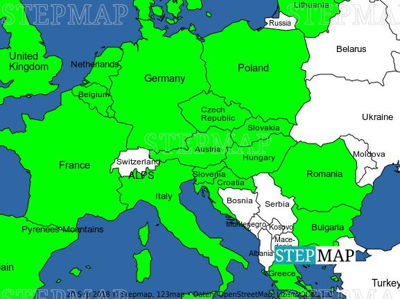 Stepmap Europe Map W Mountains And Eu Landkarte Fur Europe