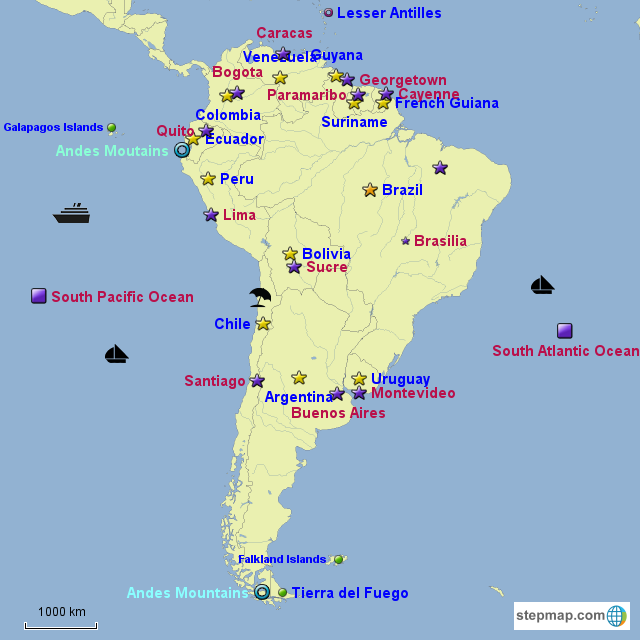 South America Map Countries And Capitals Quiz