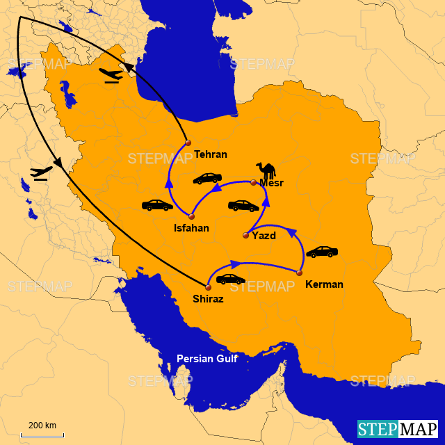 StepMap - 14 Days Shiraz. Kerman. Yazd. Mesr. Isfahan. Tehran ...