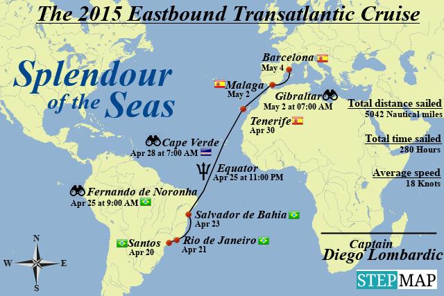 StepMap - 2015 transatlantic eastbound - Landkarte für World