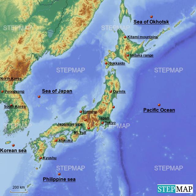 Stepmap A Physical Map Of Japan Landkarte Fur Japan