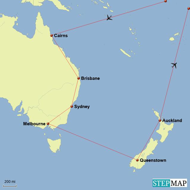 Map Of Australia Nz.Stepmap Aus Nz Landkarte Fur Australia