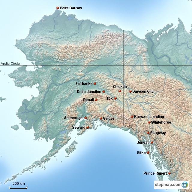 Stepmap Alaska Landkarte Fur North America