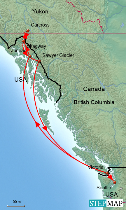 StepMap - Alaska Cruise: July, 2015 - Landkarte für North ...