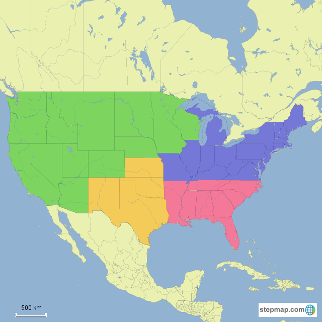 Stepmap All Us Regions Map Landkarte Fur Usa - Map-of-us-regions