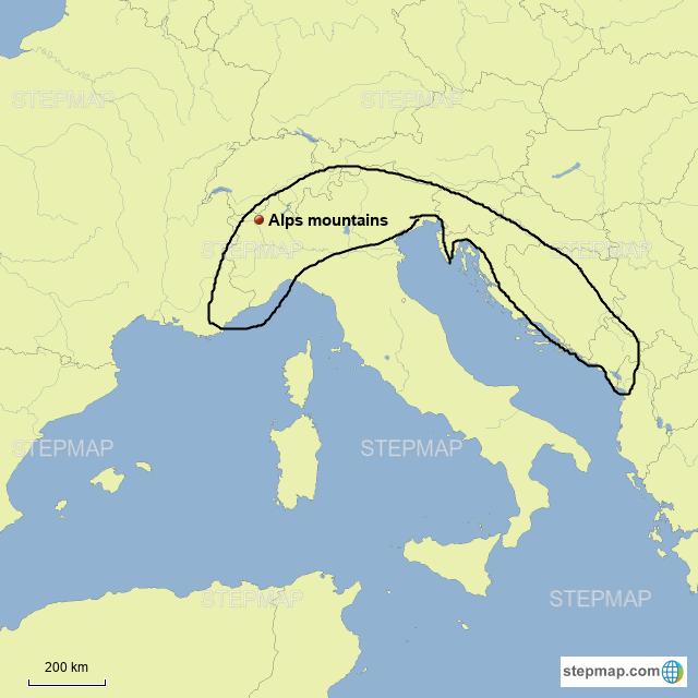 StepMap - Alps mountains - Landkarte für Europe