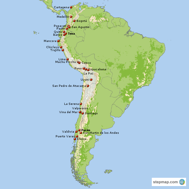 StepMap - America del Sur - Landkarte für South America on map of panama, map of venezuela, map of travel, map of argentina, map of spain, map of playa, map of bolivia, map of colombia, map of buenos aires, map of costa rica, map of africa, map of europe, map of sudamerica, map of las antillas, map of barbados, map of france, map of paraguay, map of peru, map of ecuador, map of australia,