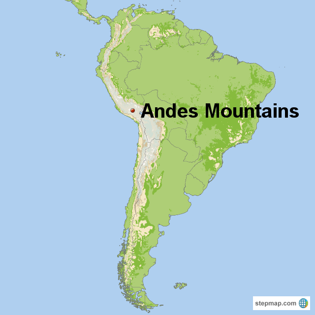 Andes Mountains On Map StepMap   Andes Mountains   Landkarte für South America
