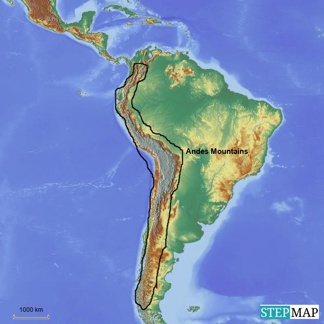 StepMap - Andes Mountains - Landkarte für Argentina