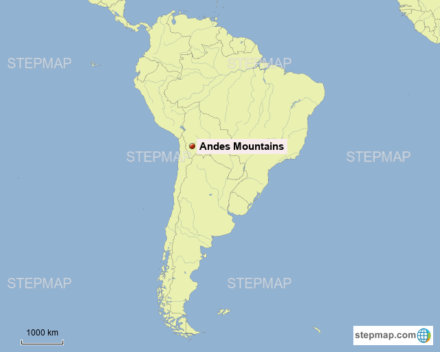 Andes Mountains On Map StepMap   Andes Mountains   Landkarte für Argentina