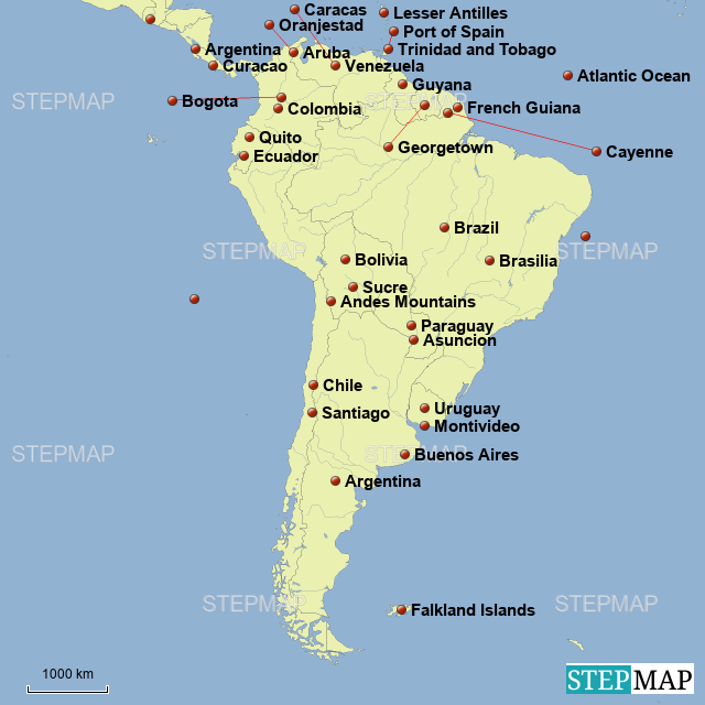 StepMap - Andrew Willis South America Map - Landkarte für ... on la paz map, bogota map, georgetown ohio map, falkland islands map, georgetown florida map, columbia north america map, georgetown caribbean map, georgetown ontario map, georgetown dc, galapagos islands map, brasilia map, georgetown guyana map, latin america map, cayenne map, georgetown tx school zone map, camp humphreys south korea map, georgetown jamaica map, lake titicaca map, montevideo map, georgetown alaska map,