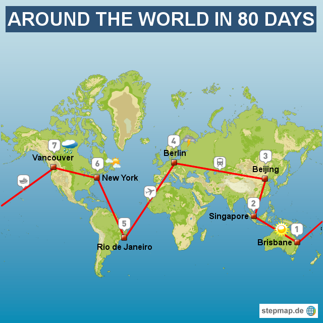 Map: Around the World in 80 Days