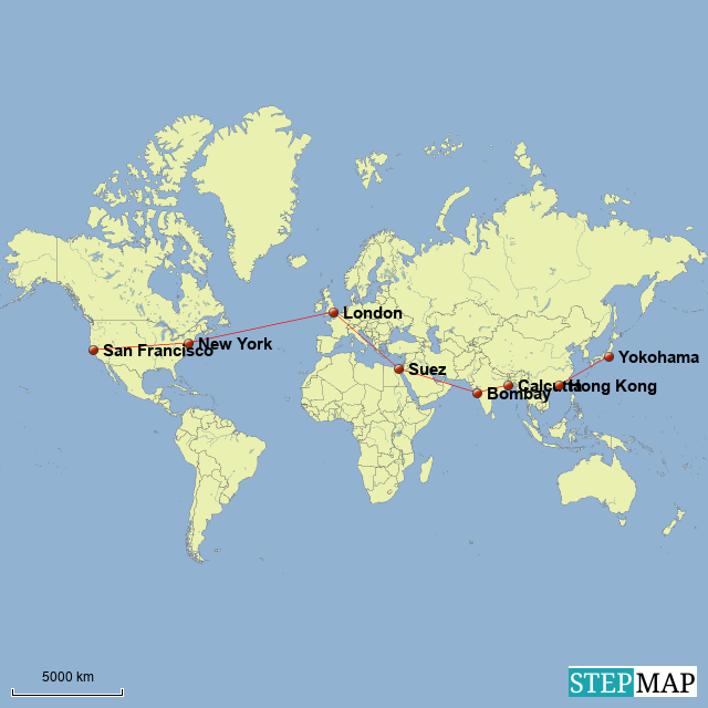 StepMap - Around the World in 80 Days - Landkarte für World