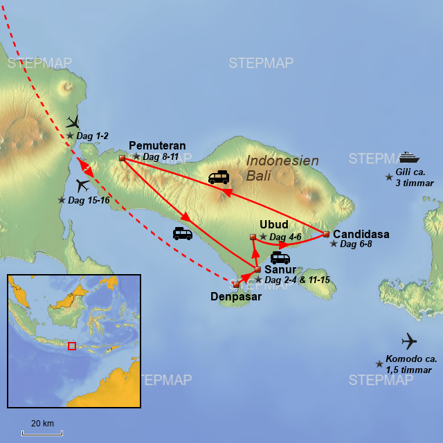 Map Of Asia Bali.Stepmap Asiatours Bali Hojdepunkter 16 Dage Se Landkarte Fur