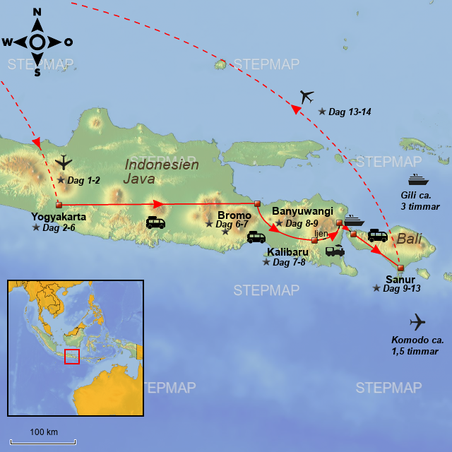 Map Of Asia Bali.Stepmap Asiatours Java Badeferie Pa Bali 14 Dage Se Landkarte