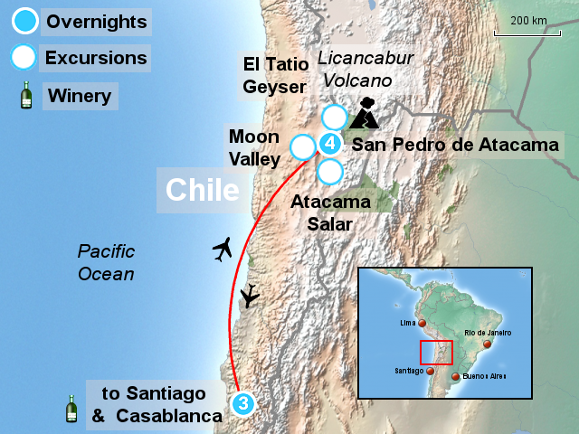 StepMap - Atacama Desert and Santiago Tour ATA - Landkarte ...