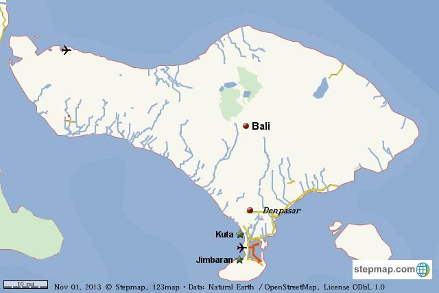 StepMap - Bali Island - Landkarte für World
