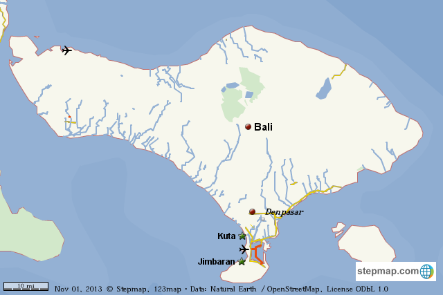 Stepmap Bali Island Landkarte Fur World