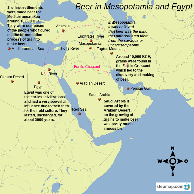 Where Is Mesopotamia On A World Map.Stepmap Beer In Mesopotamia And Egypt Landkarte Fur Germany