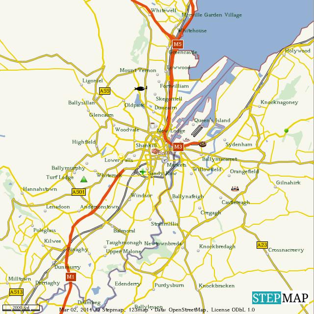 Stepmap Belfast Landkarte Fur World