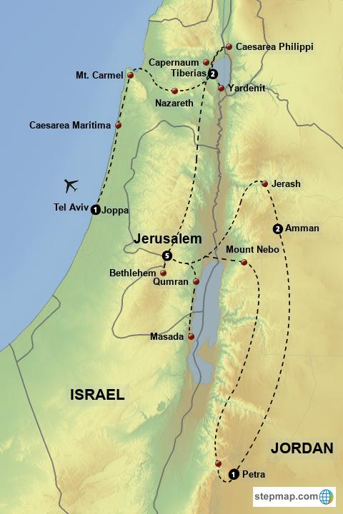 StepMap - Biblical Israel and Jordan - Landkarte für Israel