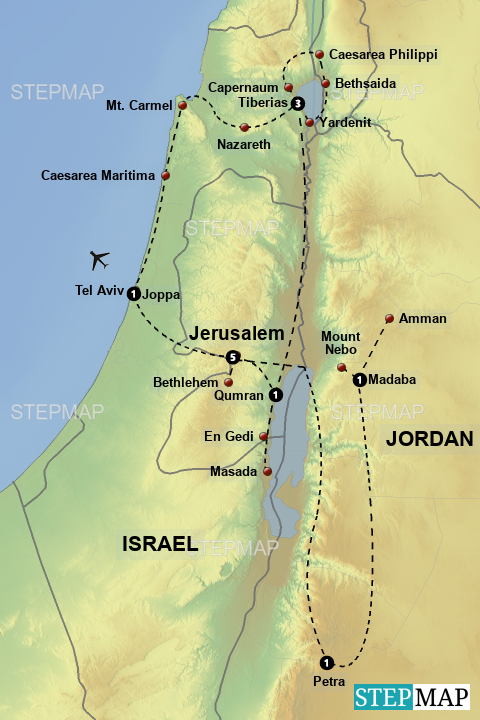 Stepmap Biblical Israel And Jordan Landkarte Fur Israel