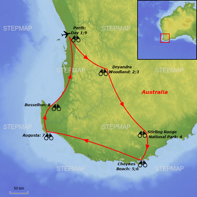 Southwest Australia Map.Stepmap Birding Tour Australia The Southwest