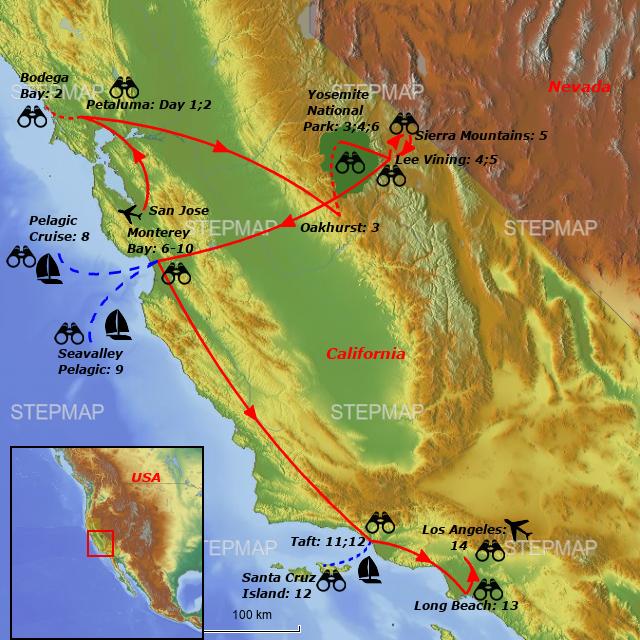 Complete Map Of Usa.Stepmap Birding Tour Usa Complete California Mountains