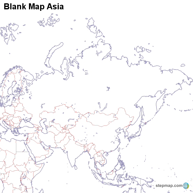 A Blank Map Of Asia.Stepmap Blank Map Asia Landkarte Fur Asia