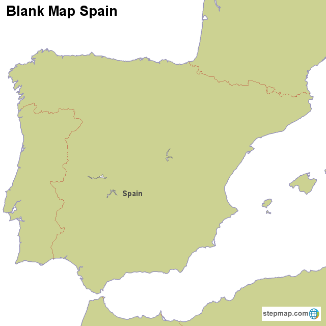 Map Of Spain Blank.Stepmap Blank Map Spain Landkarte Fur Spain