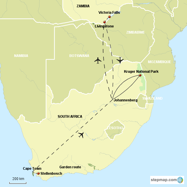 Map Of Africa Victoria Falls.Stepmap Coc South Africa Victoria Falls Landkarte Fur South