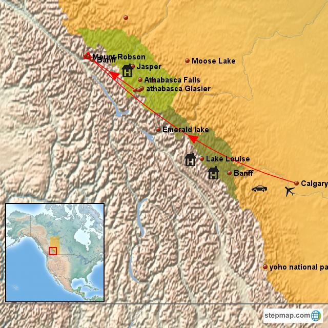 Map Of Canada Banff.Stepmap Canada Banff Mt Robson Landkarte Fur Canada