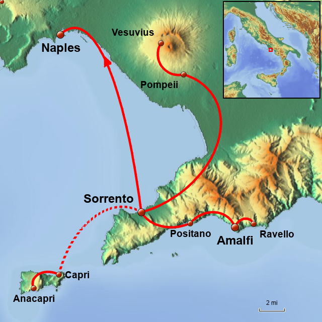 Stepmap Capri And The Amalfi Coast Landkarte Fur Italy