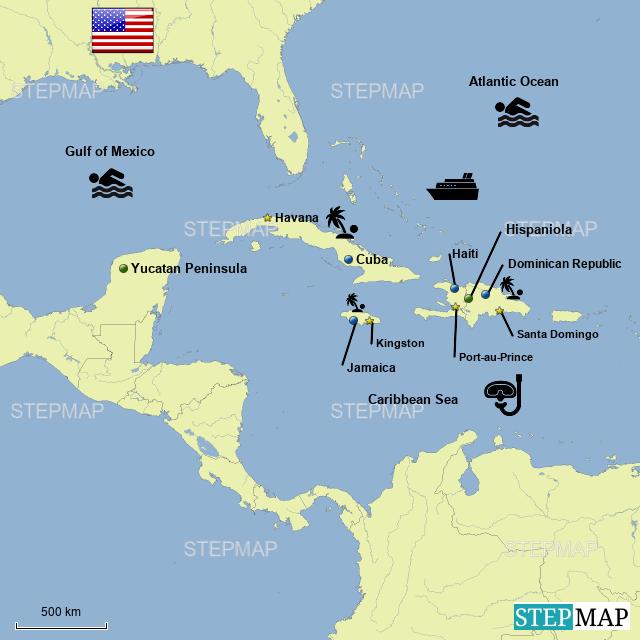 StepMap - Caribbean Map - Landkarte für World