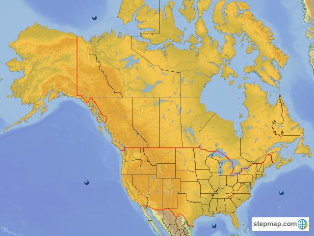 Carte Relief Amerique Du Nord.Stepmap Carte Amerique Du Nord Relief Et Hydrographie