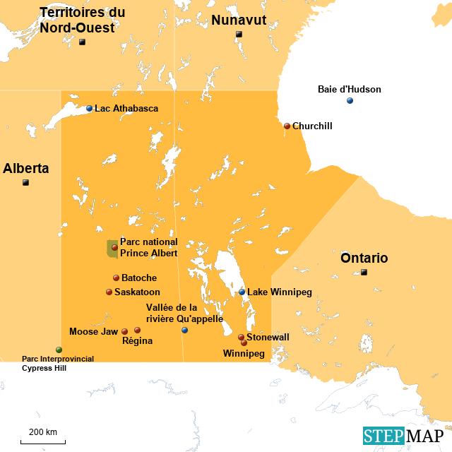 Carte Canada Manitoba.Stepmap Carte Manitoba Saskatchewan Avec Villes Landkarte Fur Canada