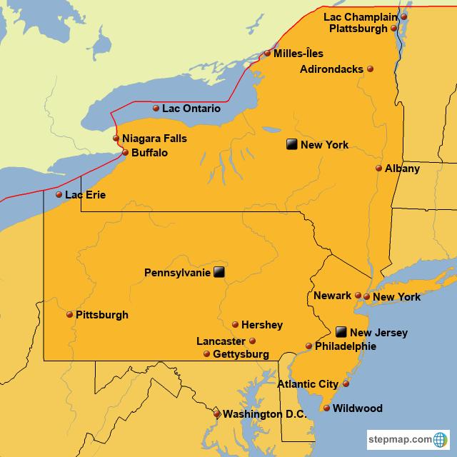 Carte New York Et Alentours.Stepmap Carte New York Et Les Environs Prof Landkarte
