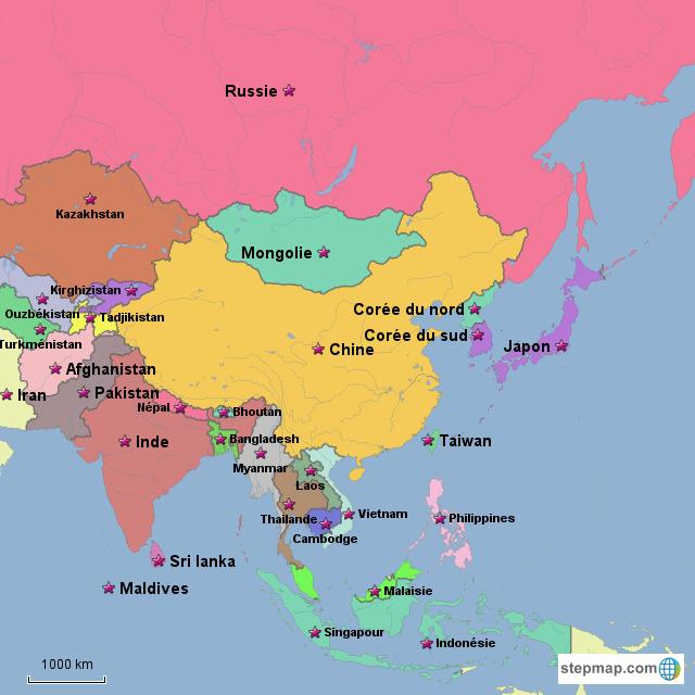 Carte De Lasie.Stepmap Carte De L Asie Landkarte Fur Asia