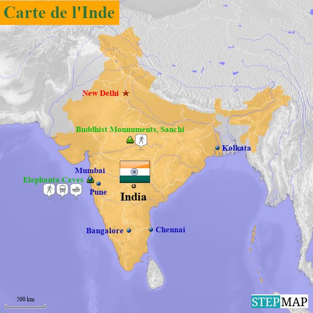 Carte De L Inde.Stepmap Carte De L Inde 1 Landkarte Fur India