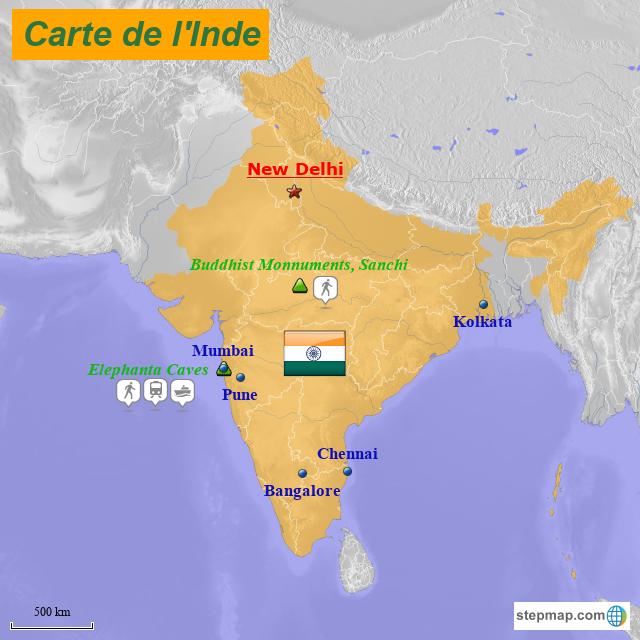 Carte De Linde.Stepmap Carte De L Inde 2 Landkarte Fur India
