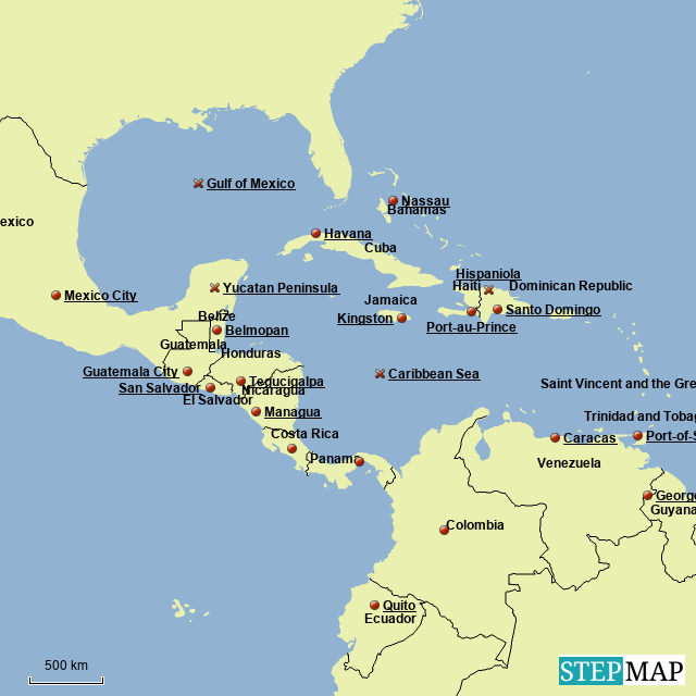 StepMap - Central America - Landkarte für Haiti