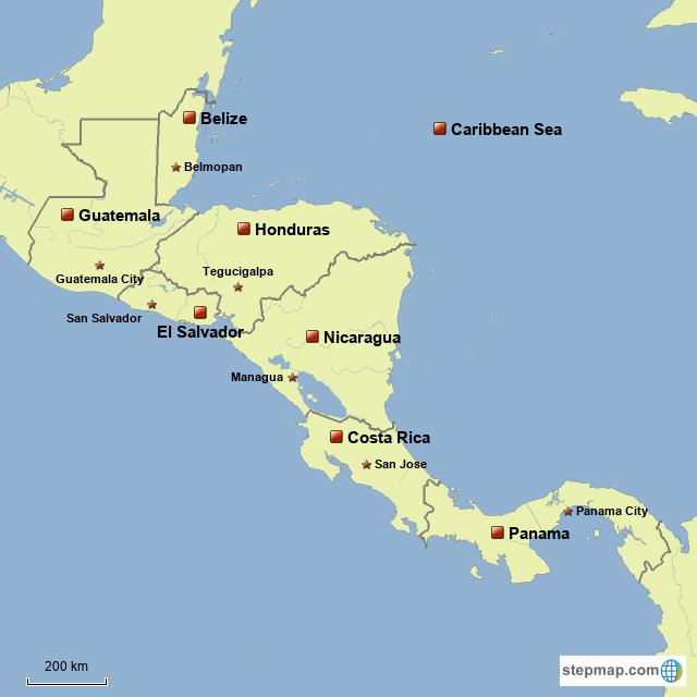 StepMap - Central America - Landkarte für Guadeloupe