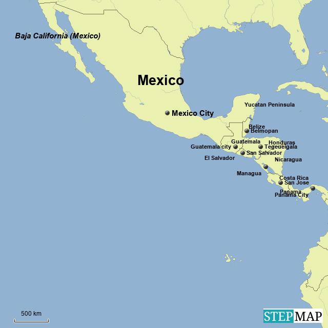 Map Of Central America Yucatan Peninsula.Stepmap Central America Landkarte Fur Mexico