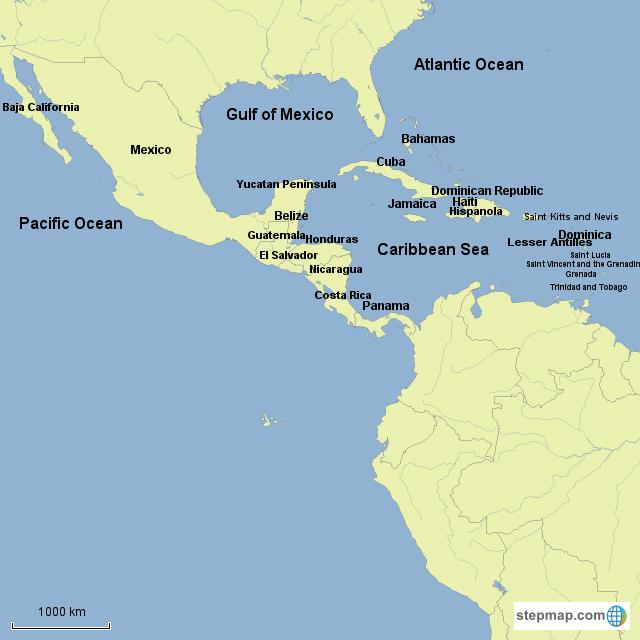 StepMap - Central American Countries - Landkarte für South ...
