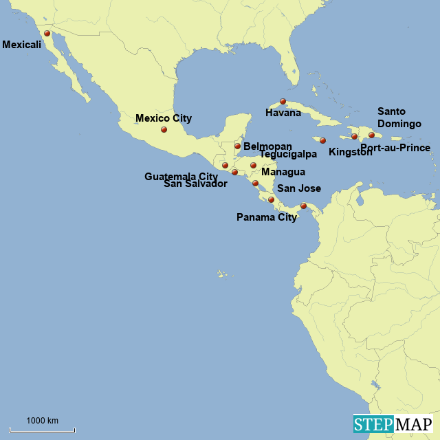 StepMap - Central American - Country Capitals - Landkarte ...