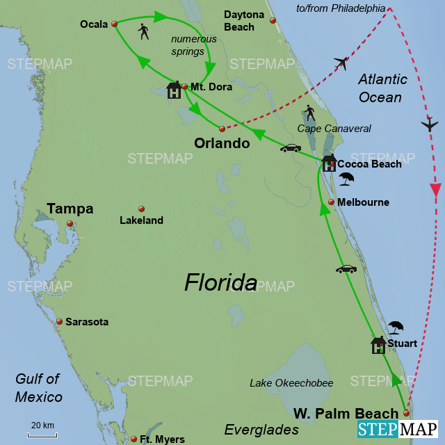 StepMap - Central Florida 2018 - Landkarte für USA
