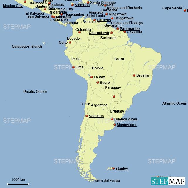 StepMap - Central/South America - Landkarte für Argentina