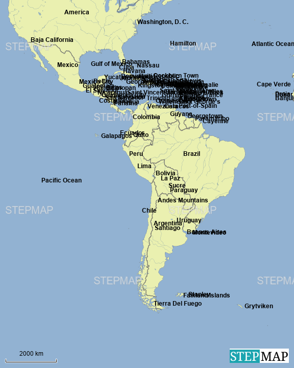 StepMap - Central & South America - Landkarte für Argentina