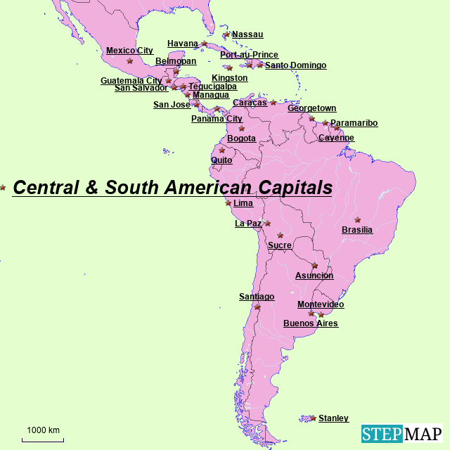 StepMap - Central & South American Capitals - Landkarte für ... on caribbean map, andes mountains map, middle america map, north america map, western europe map, central and south american countries, central and east africa map, central and southern europe map, central and southwest asia map, orinoco river map, amazon river map, latin america map, central america vegetation map, central plains south america, belize map, asia pacific map, south central us map, panama canal map, west indies and central america map, llanos map,