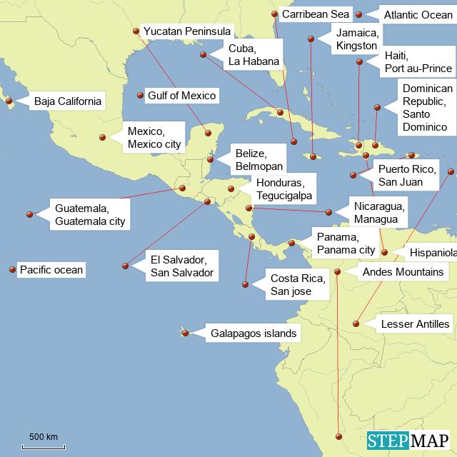 StepMap - Central america - Landkarte für Mexico